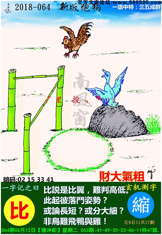 064期跑狗一字記之曰:【比】_比説是比翼,難判高低。此起彼落鬥姿勢?或論長短?或分大細?非鳥難飛鴨與雞!_玄機測字:《縮》_一語中特【三五成群】
